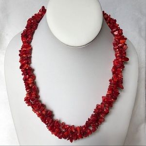 estate pc RED CORAL 3 strand TWIST NECKLACE 20""